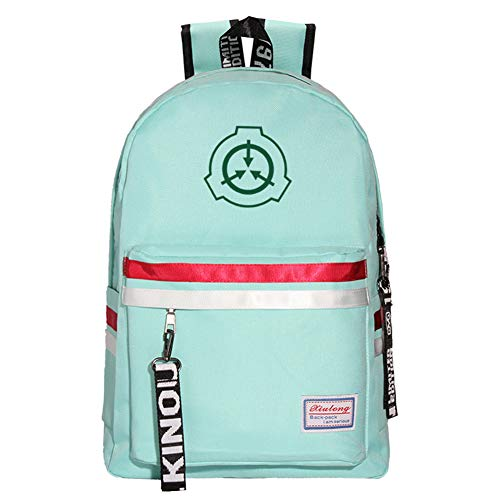 JESU SCP School Backpack, Unisex Fashion Daypack, with Front and Side Pockets, Durable Water Resistant, for Teen Boys and Girls,Green3