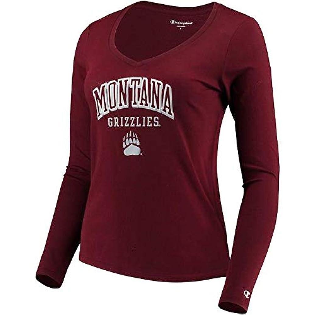 荷物特定の少ないChampion Champion Montana Grizzlies Women's Maroon Arch Logo Long Sleeve V-Neck T-Shirt スポーツ用品 【並行輸入品】