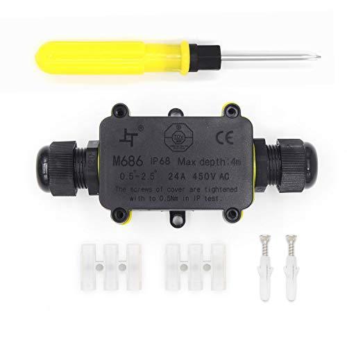 Abzweigdose Wasserdicht - IP68 Wasserdicht 2-Wege-Verteilerdose Ø 4mm-14mm, Größere Kabelverbinder Außen Wasserdicht Erdkabel Schwarz Elektrischer Außenverteilerdose