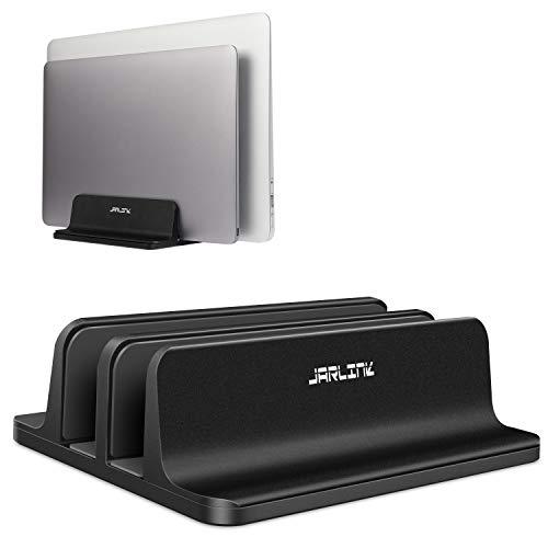 "JARLINK (Upgraded Dock Version) Vertical Laptop Stand, Double Desktop Stand Adjustable Laptop Holder (up to 17.3"") Compatible All MacBook Pro/Air/Microsoft Surface/Gaming Laptops/Lenovo (Black)"