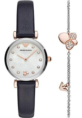 Emporio Armani AR80036 Gianni T-BAR Set Uhr mit Armband Uhr Leder-Armband blau