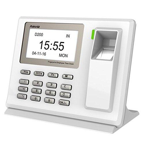 MKT praktisches Fingerprint Zeiterfassungssystem ohne Karte - Elektronische Fingerabdruck Stempeluhr zum Stundennachweis - Nützliche biometrische Stechuhr für Mitarbeiter