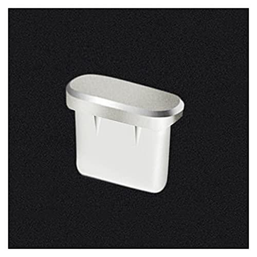 LJZZH Tappo Antipolvere Principale di Pulsante di PULSINO del PULSINO del Porta di Charger di Tipo-C Mantieni efficacemente Il Jack delle Cuffie Libero (Color : Silver)