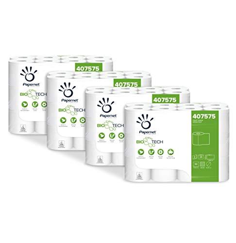 Papernet Carta Igienica Bio Tech 407575 | Carta Igienica a 2 Veli | 4 Confezioni da 24 Rotoli per 180 Strappi 11 x 9,5 cm | Lunghezza Rotolo 19,8 m | Diametro 10,20 cm