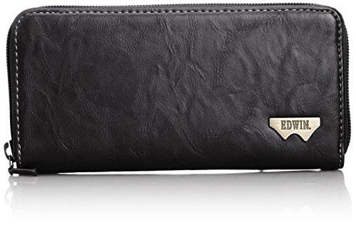 [エドウィン] 財布 ラウンドZIP グレイン合皮 Wメタル 紙幣収納 小銭収納 カードポケット 12289939 60.ブラック