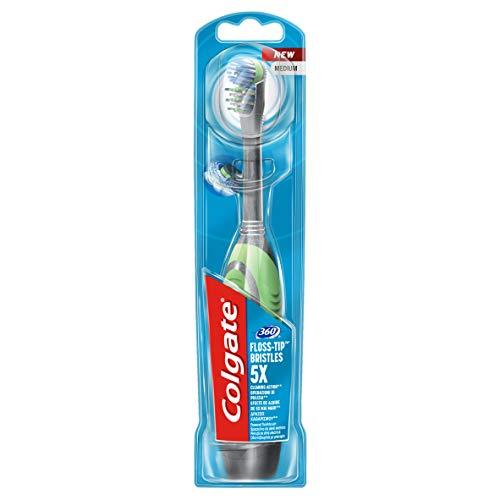 Colgate Spazzolino a Batteria 360 Floss-Tip 5X, con Pulisci Lingua per Rimuovere i Batteri