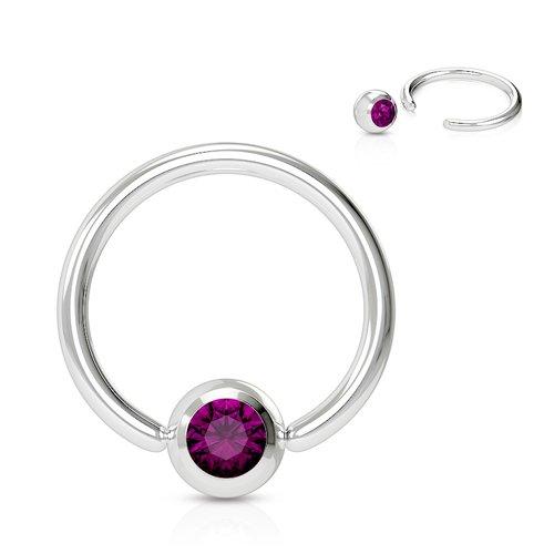 Intieme piercing ringetje steentje paars