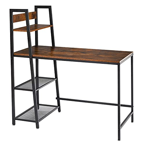YMYNY Computer Desk 110cm/44 inch with 4 Storage Shelves, Modern Writing Desk with Bookshelf PC Desk, for Home Office, Industrial Style, Rustic Brown