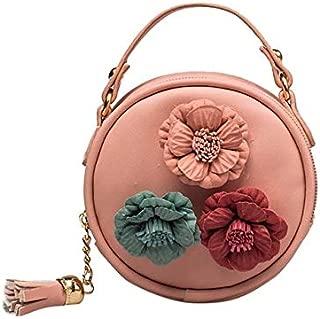 Fashion Single-Shoulder Bags Children Tassel Circle-Shape Floral Handbag Girls Shoulder Bag Mini Messenger Bags(Black) (Color : Pink)