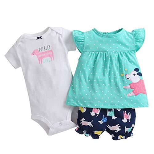 ARAUS Mameluco Bebé Niña Camiseta Pantalón Corto Verano Estampado Rayas Mono Conjuntos Algodón Floral Jumpsuit