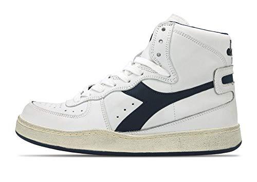 Diadora Heritage, Unisex Adulto, Mi Basket 84 Used, Pelle, Sneakers Alte, Bianco, 36 EU
