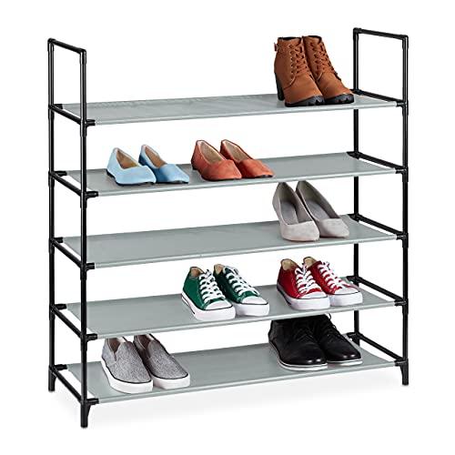 Relaxdays Zapatero XL, 5 Niveles, para 20 Pares de Zapatos, plástico, 90,5 x 87,5 x 30 cm, Color Gris