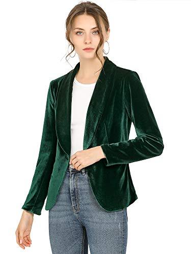 Allegra K Blazer De Terciopelo Cuello Chal Un Botón Sólido Abrigo De Oficina para Mujer Verde M