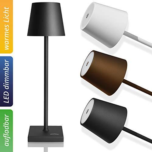 charlique® aufladbare LED Tischlampe, schwarz mit starkem Akku und USB Port - Indoor und Outdoor - stufenlos dimmbar, warmes Licht - edle Balkon oder Garten Tischleuchte - lange Brenndauer