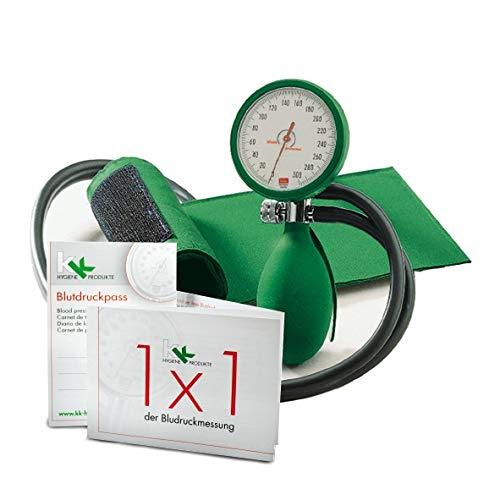 boso clinicus II mit Klettenmanschette Ø 60 mm   inkl. KK Blutdruckpass + 1 x 1 der Blutdruckmessung (Grün)