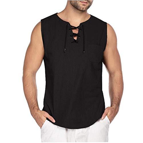 Ohomr Moda Hombres Camiseta de algodón de la Camiseta del Hippie La Yoga Camisa sin Mangas Negro Grande