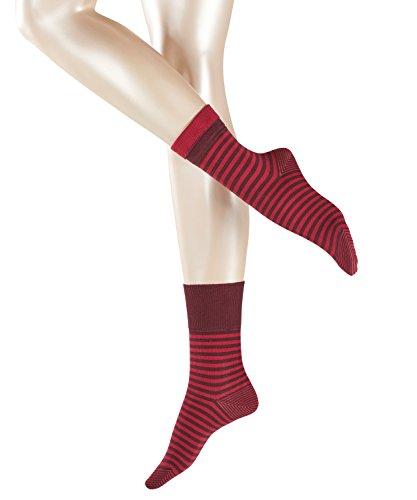ESPRIT Damen Socken Fold Stripe - 83prozent Baumwolle , 1 Paar, Rot (Claret 8375), Größe: 39-42