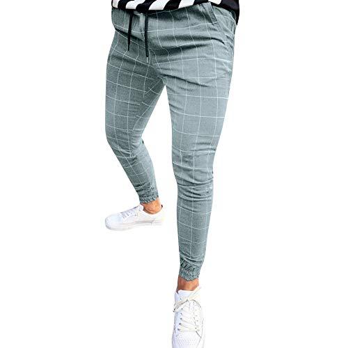 MMUJERY Pantalones Casual para Hombre-Pantalones Largos elásticos Pantalones a Cuadros Casuales de los Hombres-Pantalones Ajustados