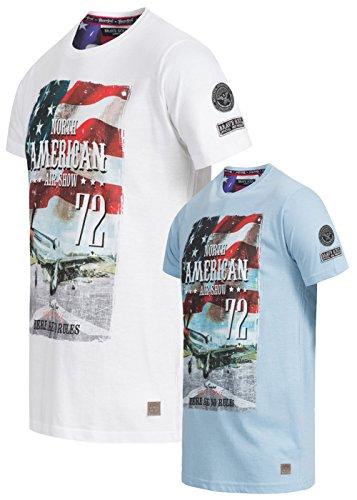 Brave Soul Herren 2er T-Shirt Set Navigator, Weiss & blau, S