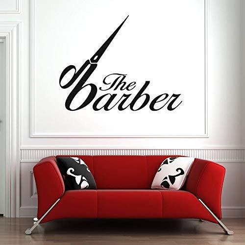 Salón de belleza tatuajes de pared barbería arte pegatinas de pared decoración corte de pelo logo patrón autoadhesivo