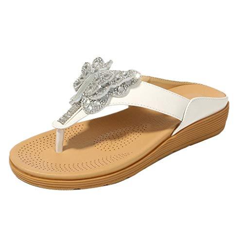 Eaylis Damen Schmetterling Strass BöHmischen Dicken Unteren Zehen Volltonfarbe Sandalen Sommer Strand Schuhe Hausschuhe Stilvoll