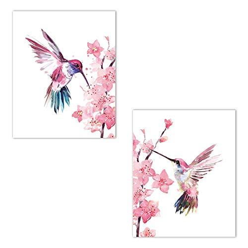 Set of 2 - Hummingbird Wall Art Prints Decor,Hummingbirds on The Sakura Wall Art, Cherry Blossom Wall Art for The Girl Kindergarten Wall Artist Residence Decoration,Gift(8'X 10' No Frame)