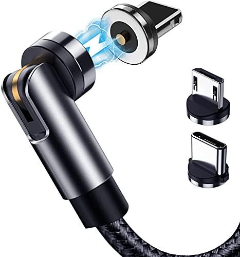 3in1 充電 マグネット ケーブル 2M 360度+180度回転 急速充電 着脱式 データ転送 磁気USBケーブル Type c/Micro USB/phone兼用対応 (3in1-Black-2M)