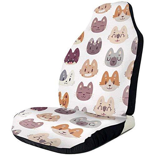 Alice Eva 2pcs Sitzbezüge Cute Kitty Cat Gesichter Universal Fit Full Set Vordersitzbezüge, Autositzschoner