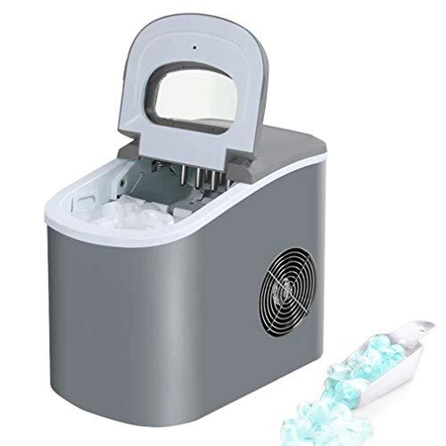 NSDDTXD Eiswürfelmaschine,15 kg EIS pro Tag,6-13 Minuten Produktionszeit,2 Eiswürfel-Größen,2.2L Wassertank,DC-Fan,Leise Eiswürfelbereiter ohne Wasseranschluss,Alarmfunktion,mit Eisschaufel,105W,Grau