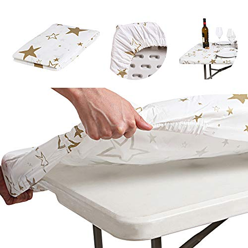 AtkEssentialProducts Waterproof Plastic Vinyl Tablecloth Elastic Edged Rectangular Fitted Picnic Cover Outdoor tablecloths Rectangle Tables Home Indoor Fits 6 ft 30'x72' Folding Table Gold Patterned
