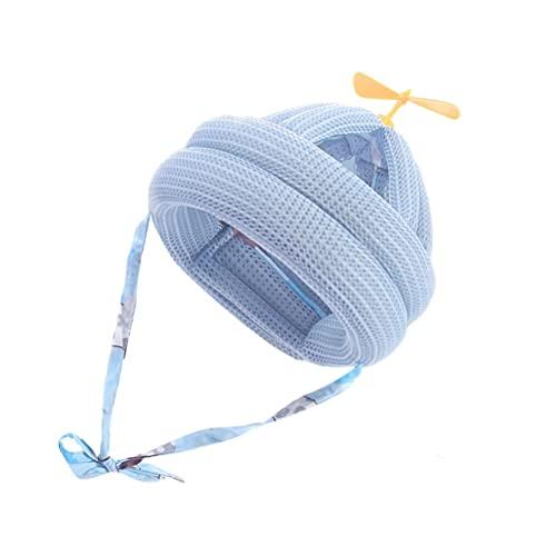 Kisangel Protetor de cabeça para bebês e crianças pequenas, capacete de segurança respirável, proteção contra quedas, chapéu de bebê para corrida, caminhada, engatinhar (azul)