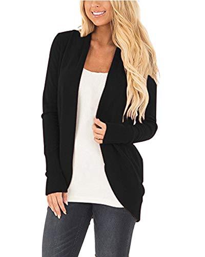 CNFIO Strickjacke Damen Lässig Casual Cardigan Langarm Outwear Mantel Jacke Herbst Dünn Jacken (M, schwarz)