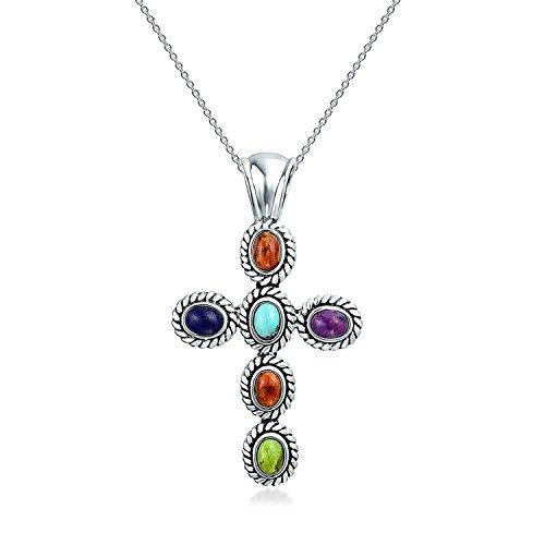 Estilo sudoeste Multi color piedras preciosas piedras preciosas bisel conjunto cruz colgante collar para las mujeres 925 plata de ley