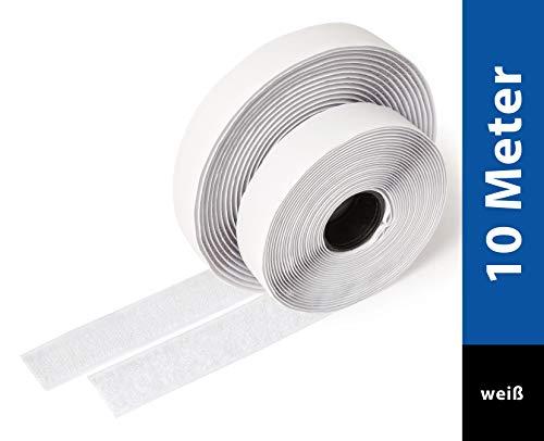iLP Klettband Selbstklebend Weiß -10 Meter Klebe Klettband zum Nähen - Klettverschluss Selbstklebend 20 mm Breit - Extra Stark - Je 1 Rolle Flauschband und Hakenband