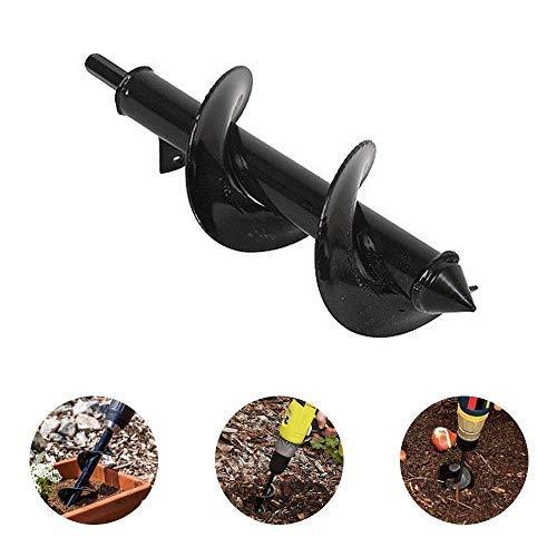 Volwco Erdlochbohrer Spiralbohrer Erdbohrer mit rutschfestem Sechskantantantrieb Garten Bagger Aufsätze für Pflanzen Blumen, Blumenzwiebeln, 30 * 8cm