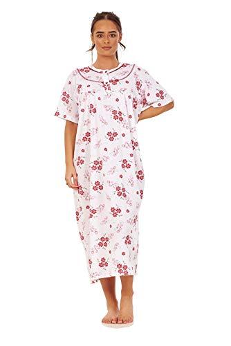 Apparel Women Long Nightdress 100 Cotton Floral Button Short Sleeve Nightwear M to 3XL Maroon