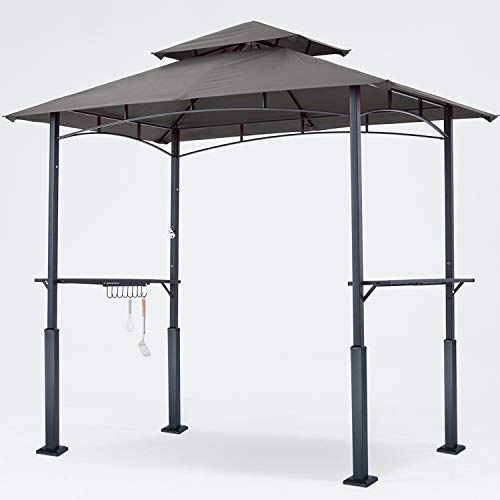 ABCCANOPY 8'x 5' Grill Gazebo Double Tiered Outdoor BBQ Gazebo Canopy with LED Light (Dark Gray)