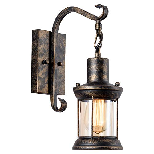 GLADFRESIT Vintage Wall Lights Oil Rubbed Bronze, Rustic Wall Sconces Lighting Fixture Glass Shade Industrial for Indoor Home Décor Headboard Retro Style