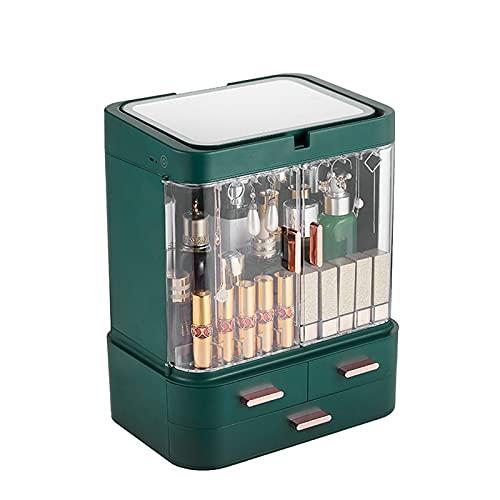 メイクアップオーガナイザーボックス、引き出し付きのLED化粧品収納ディスプレイボックス、大容量/防塵/ミラー付き/およびライト付き、カウンタートップの寝室のドレッサー旅行用