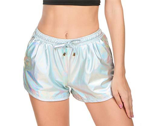 Taydey Women's Yoga Hot Shorts Shiny Metallic Pants with Elastic Drawstring(Multicolor Silver,S)