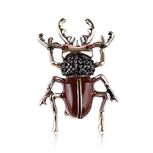 QYTSTORE Beetle Broche Insecto Esmalte Broche, Tamaño: 4,5 * 4 cm, Broche de Las señoras y Decoración de la Bufanda de Metal Broche Elegante y romántico (Color : Insect Brown)