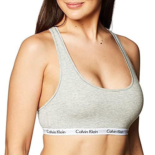 Calvin Klein Women's Regular Modern Cotton Bralette, Grey Heather, Small