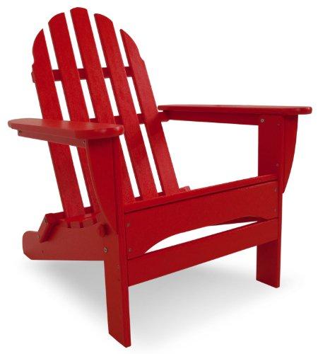 POLYWOOD AD5030SR Classic Folding Adirondack Chair, 38.5H x31.25W x 33.5 D, Sunset Red