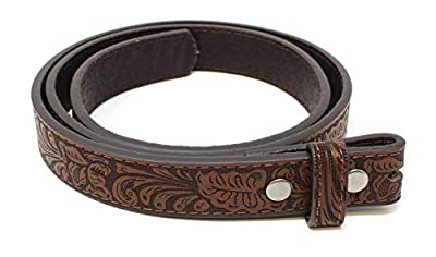 "Thin Leather Belt Strap with Embossed Western Scrollwork 1"" Wide with Snaps (Brown-S)"