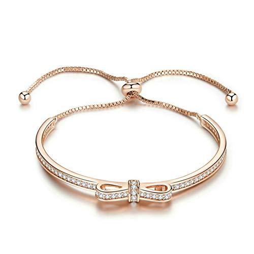 Pulsera para mujeres, pulsera de arco de chispa de plata esterlina, pulsera S925 Zircon para Navidad Cumpleaños Aniversario Día de la Madre Presente para mujeres Girl Best Friend Ella ( Color : Gold )