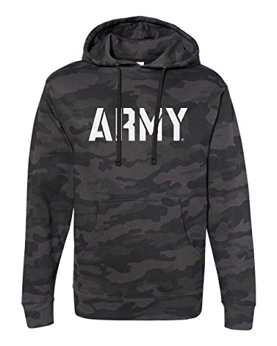 Nudge Nudge Printing US Military Academy Army West Point Officially Licensed Block Army Logo on Black Camo Hoodie Sweatshirt (Small)
