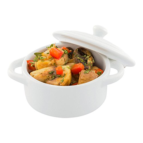 3 Ounce Mini Cocotte, 10 Oven-Safe Mini Dishes - Built-In Handles, Microwave-Safe, White Porcelain Mini Dutch Oven With Lid, Dishwasher-Safe, For Baking Appetizers Or Desserts - Restaurantware
