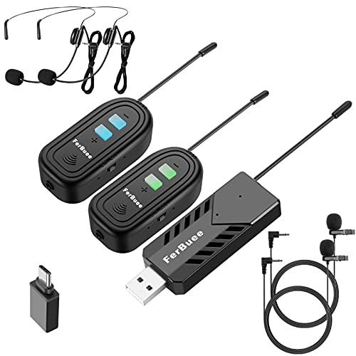 FerBuee Micrófono Inalámbrico Sistema de micrófono Dual con Auricular de Solapa inalámbrico...