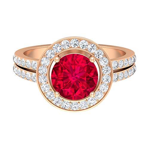 Rosec Jewels 14 quilates oro rosa redonda round-brilliant-shape H-I Red Diamond Rubí, relleno de vidrio