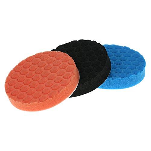 KKmoon Set van 3 schuimsponzen voor de polijstmachine voor het polijsten, waxen, slijpen, verzegelen - 3 stuks à 80 mm 6 POUCE